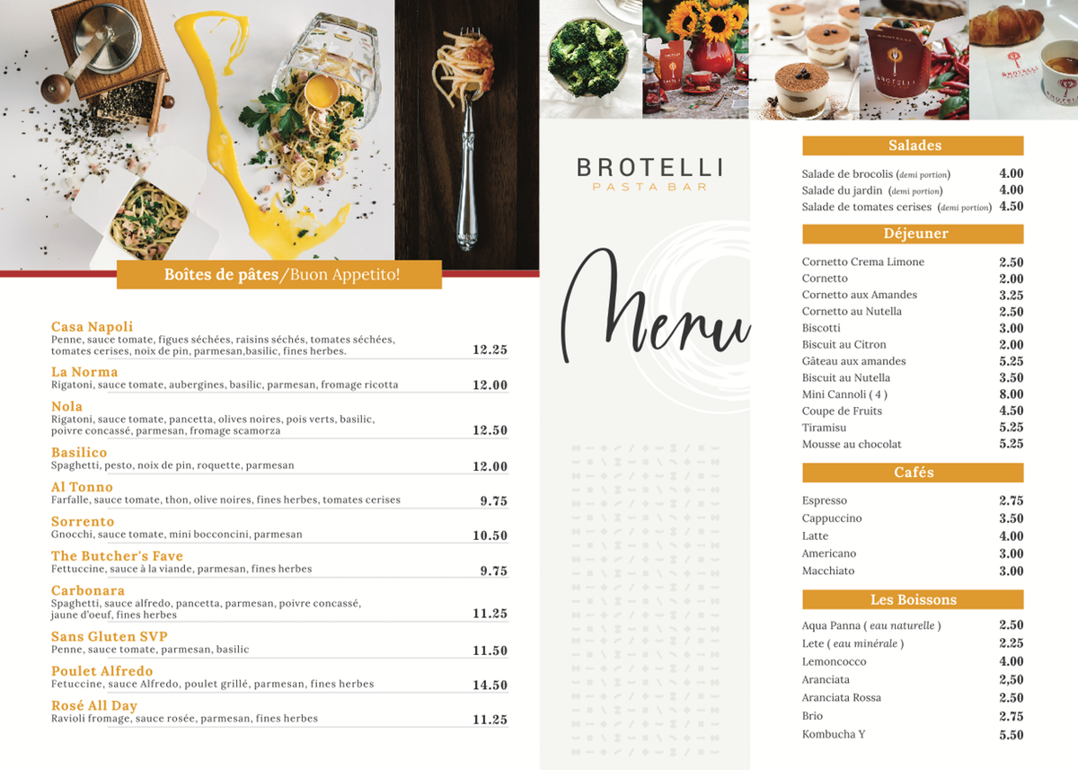 Menu design for Brotelli Pasta Bar