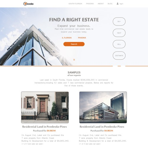 home page for commercial estate