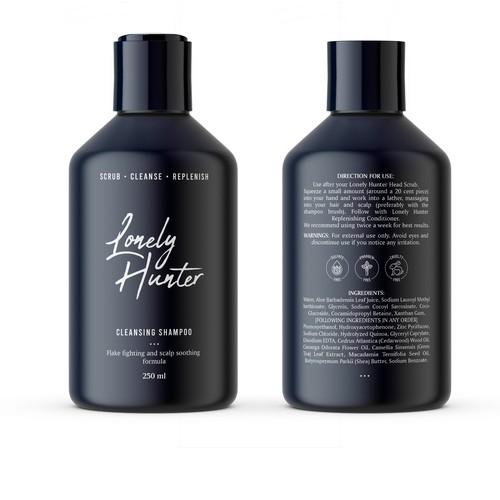 Minimalist shampoo bottle design for approachable male hair brand