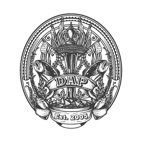 Hand Drawn DAP Vintage Logo Design Concept