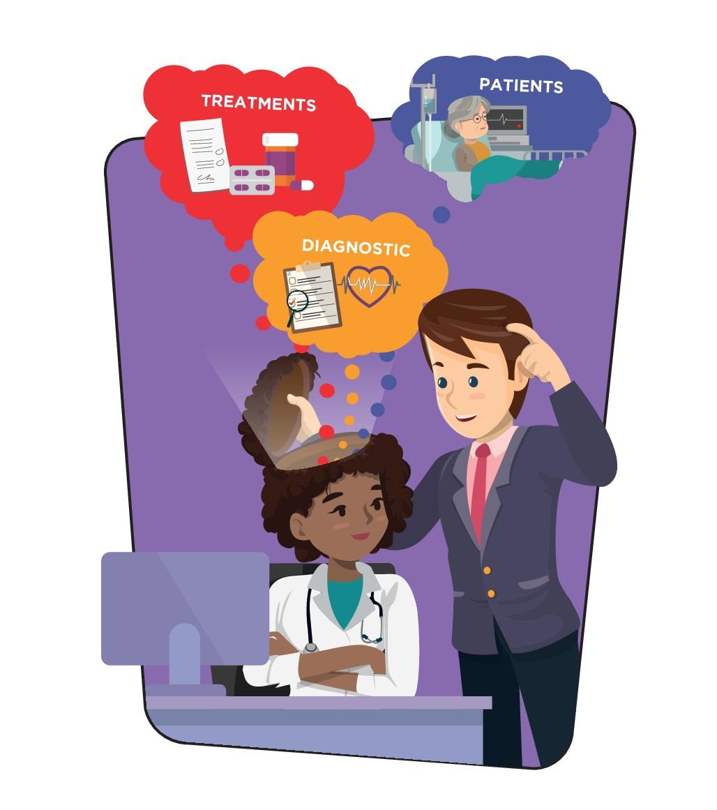 Pharma training company needs new, edgy customer's mindset Illustration