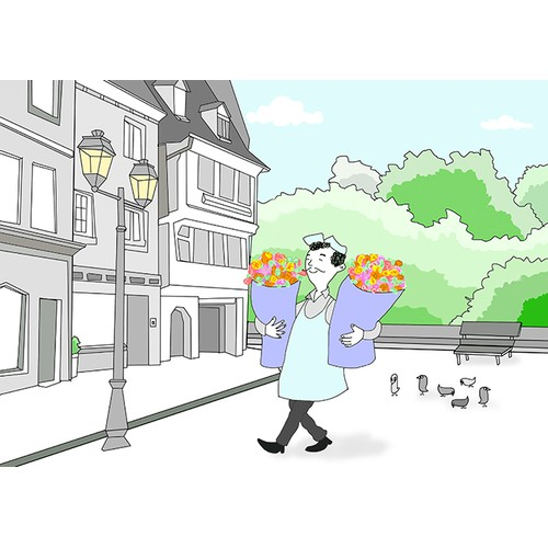 Illustration of a flower man delivering flowers