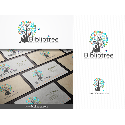 Create a dynamic, imaginative logo for bibliotree, a children's literacy platform