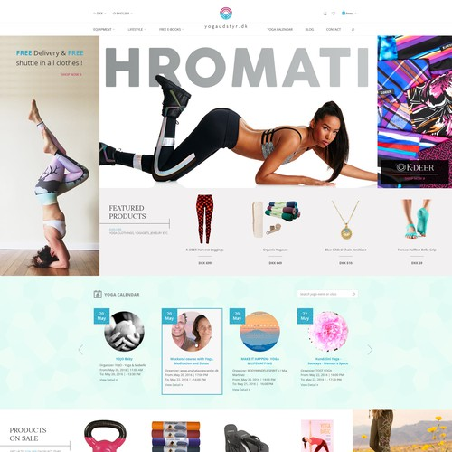 Homepage concept for a Copenhagen based online yoga accessories store