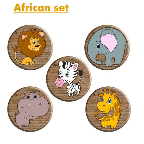 Cartoon animals. African set