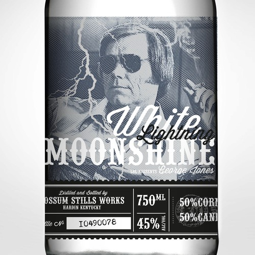 George Jones White Lightning Moonshine whisky jug labels
