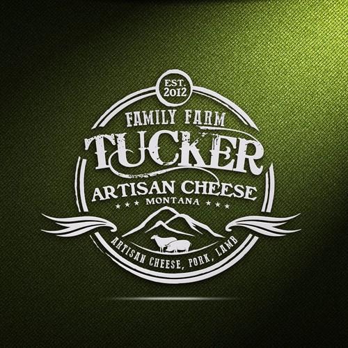 Farm logo for european style sheep cheese and pasture pork
