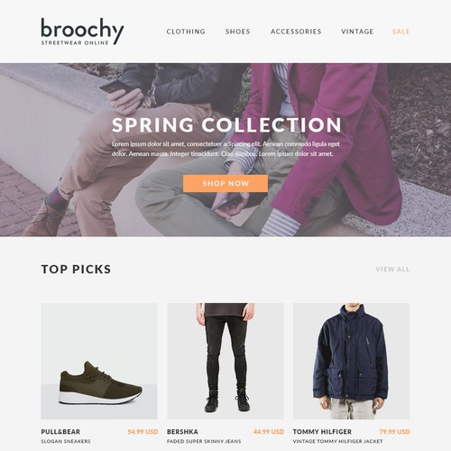 Email newsletter for Broochy Streetwear Online