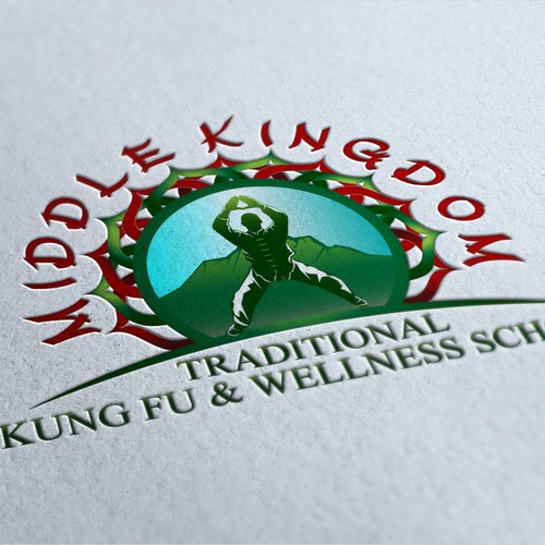Create a brand new and exciting logo for 'Middle Kingdom' a traditional kung fu school in China.