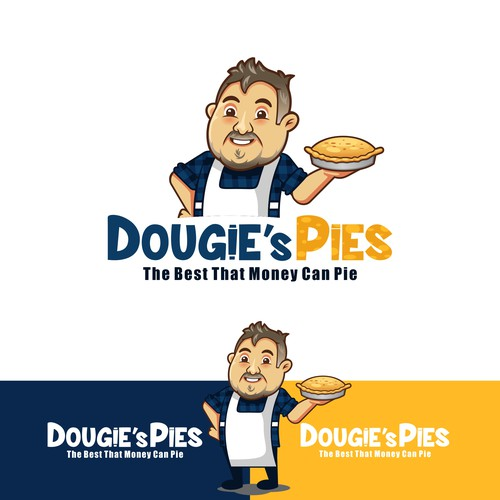 A fun mascot caricature design for a pie selling business