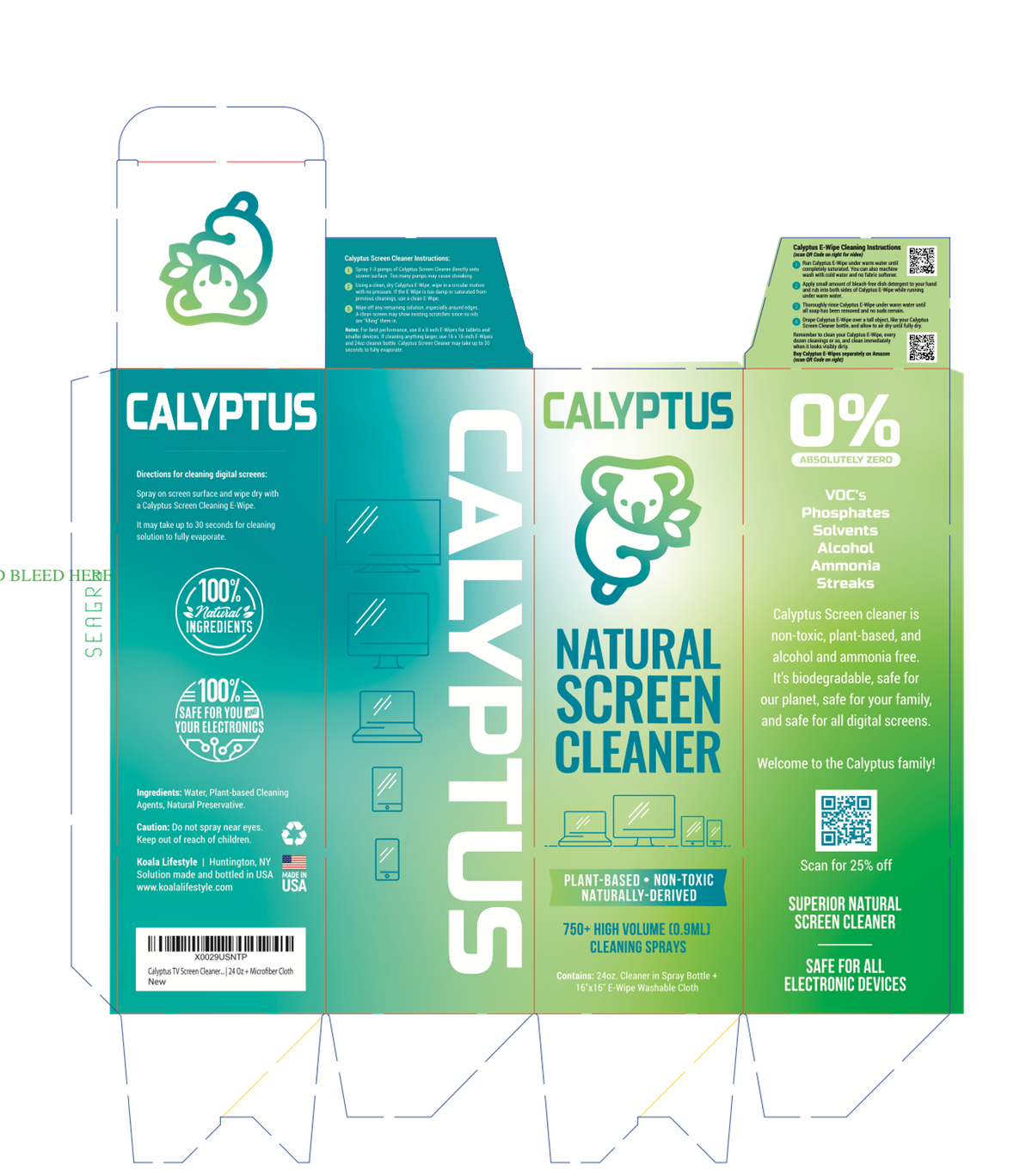 Add artwork to flaps of Calyptus Screen Cleaner Box