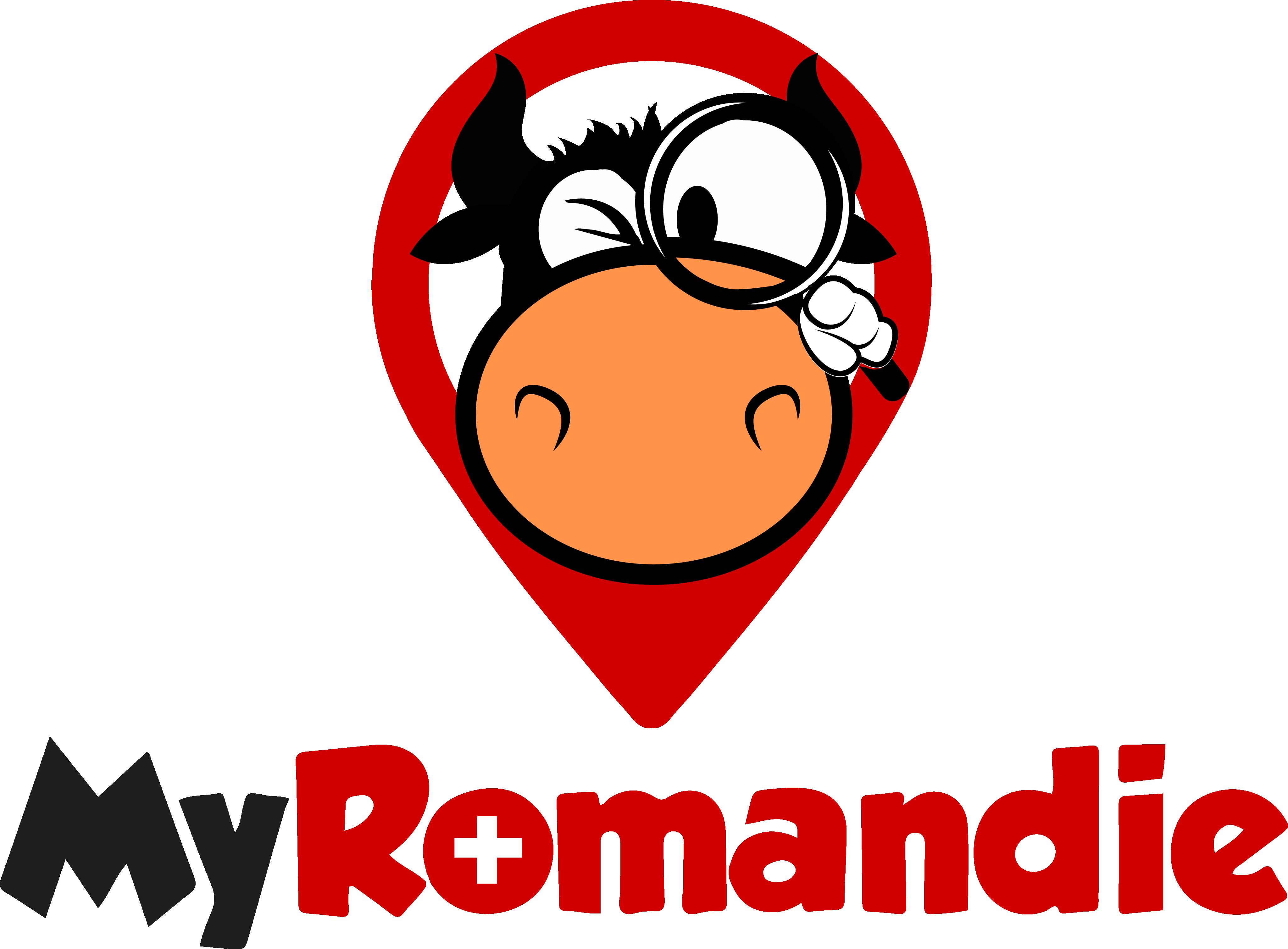 Design a logo with a funny cow for MyRomandie