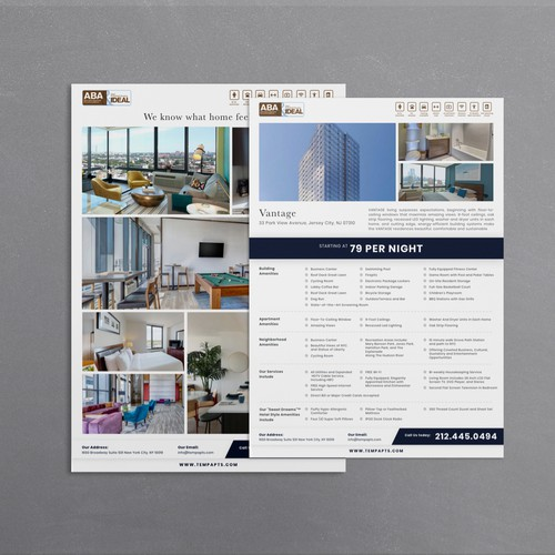 Corporate housing flyer for the luxury ABA IDEAL company