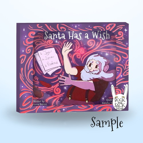 Design packaging for a children's Christmas book and toy set.