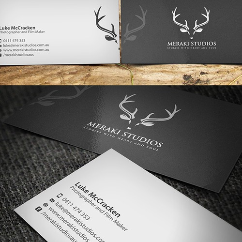 Create an elegant business card for photography studio