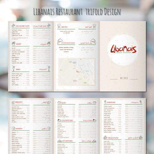Libanais Restaurant Menu,Trifold&Placemat Design
