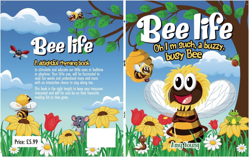 Create a Childrens charactor Bee for a book cover