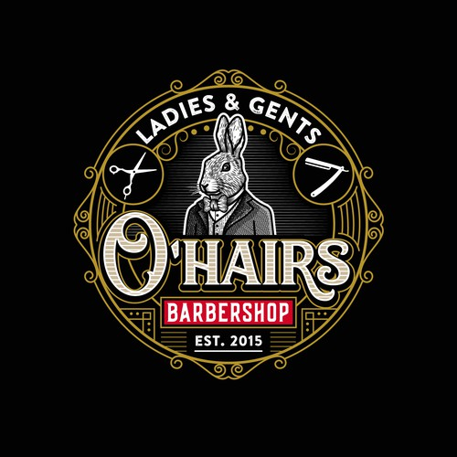 Logo for Pub-like ladies & gents barbershop - Old style