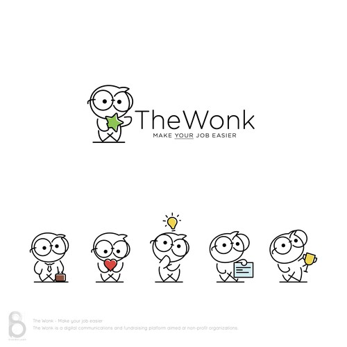 Logo and character designs for 'The Wonk'
