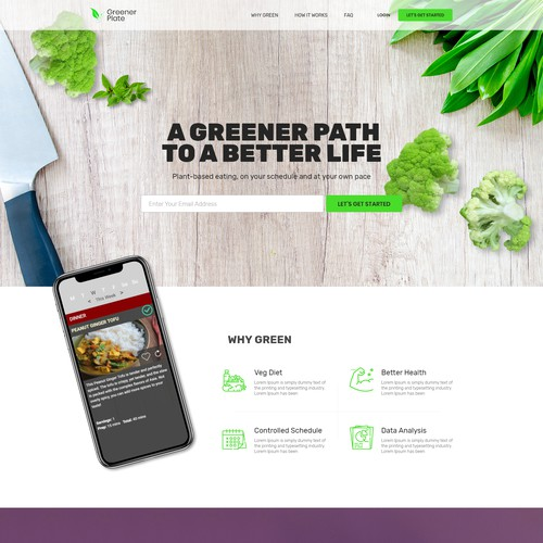 Landing Page Design for Greener Plate