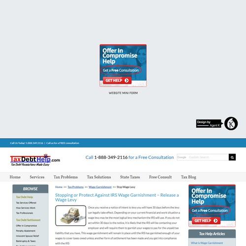Web Mini Form Design for TaxDebtHelp