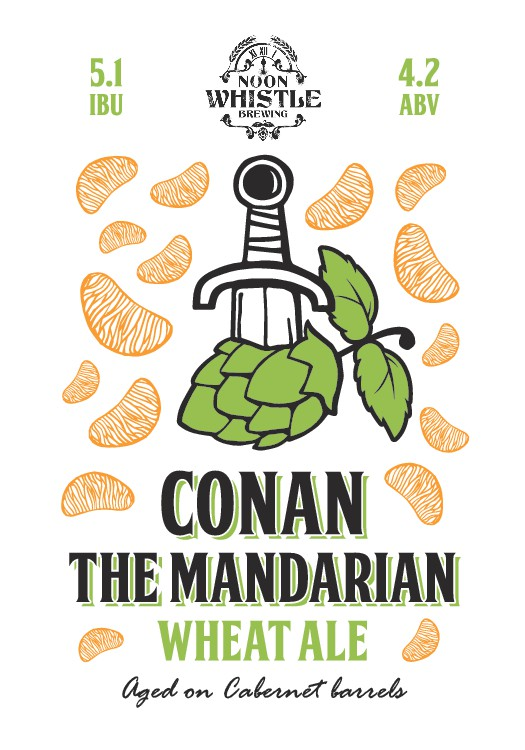 """Create a BEER label for """"Conan the Mandarin"""" aged on Cabernet barrels"""