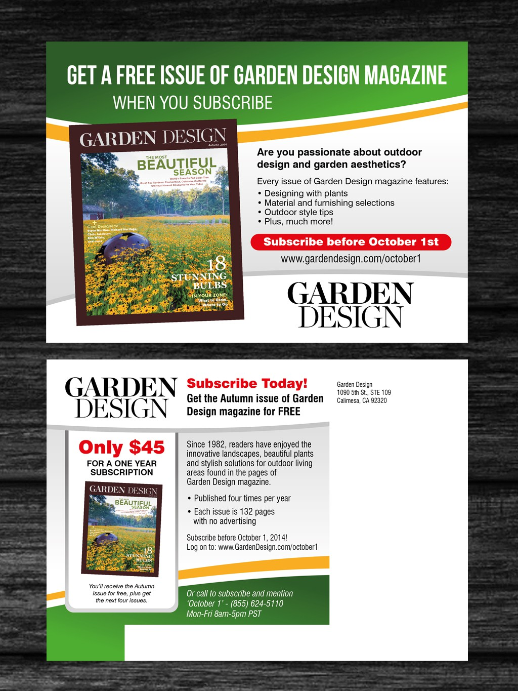 Create a promotional postcard for a gardening magazine