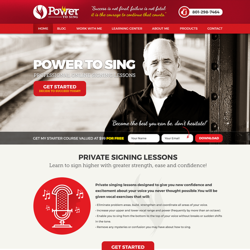 Presentation site for private singing lessons