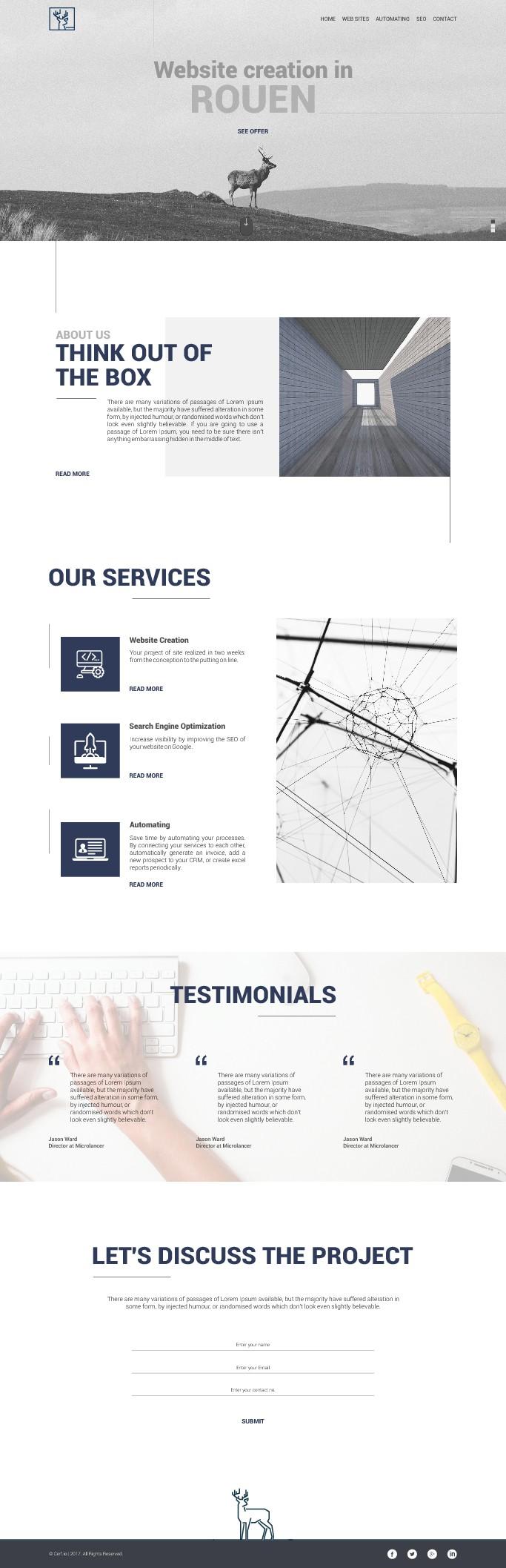 Design a minimalist website for a web agency