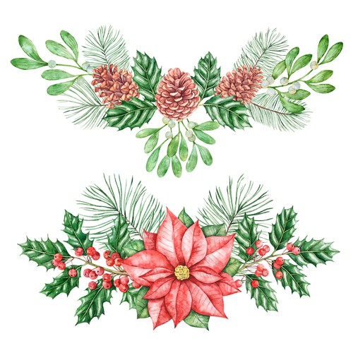 Hand-drawn watercolor illustration (Christmas theme) for Christmas cards, Christmas gift wrap,etc
