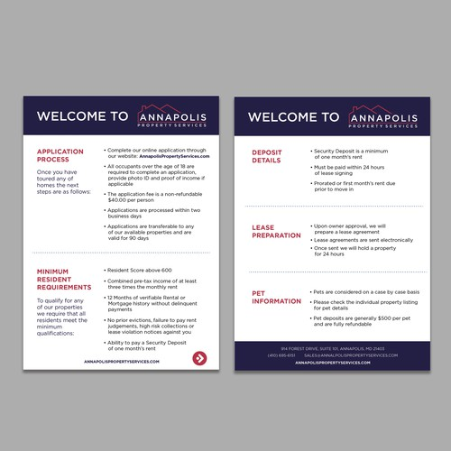 Design a simple information card for a Property Management company in the USA