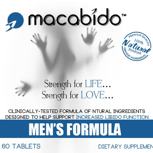 Product label for libido enhancing supplement, Macabido™