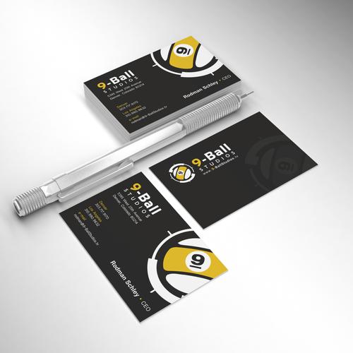 Design a new business card for 9-Ball Studios