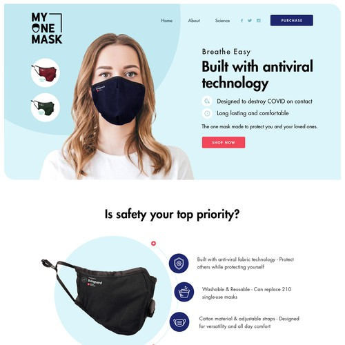 My One Mask Landing Page