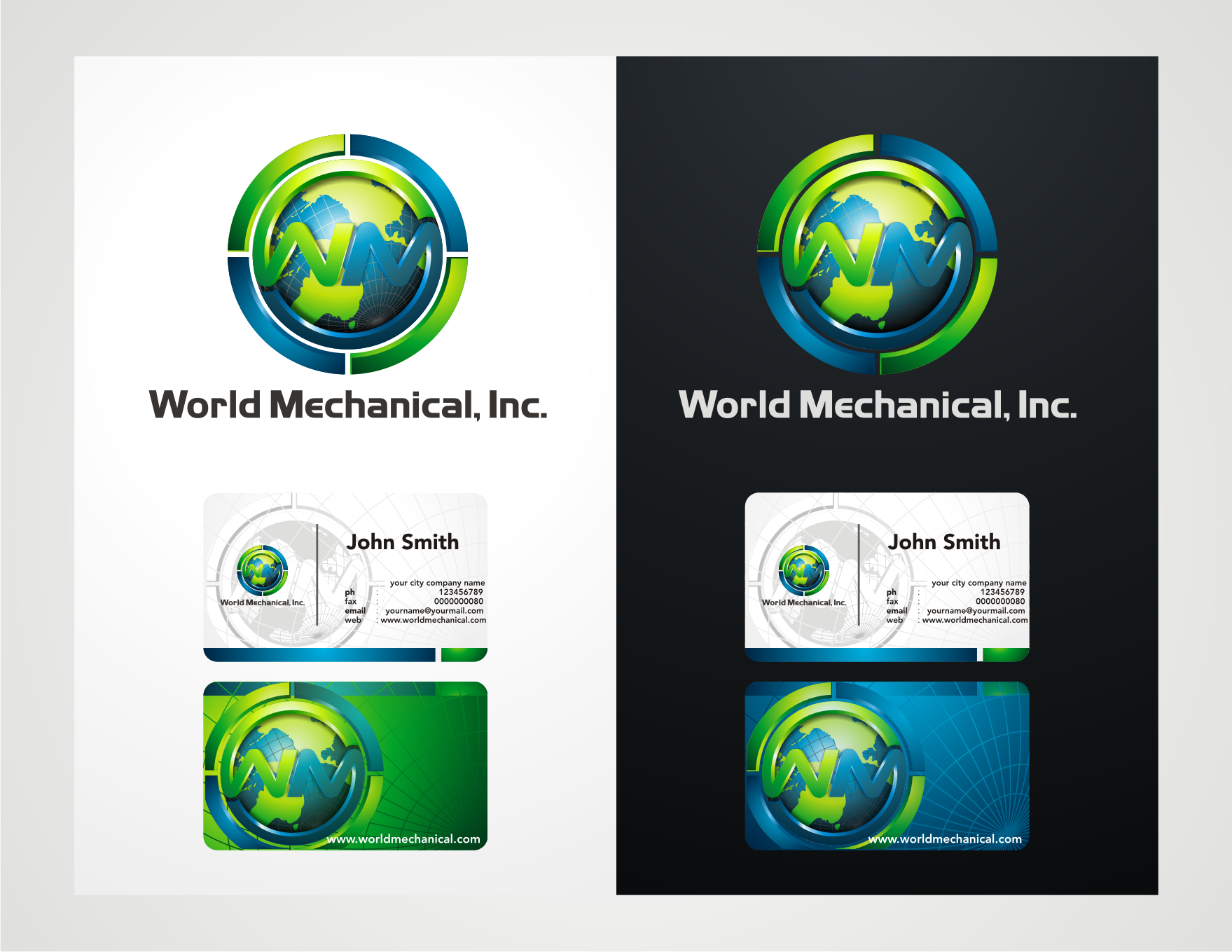 logo and business card for World Mechanical, Inc.