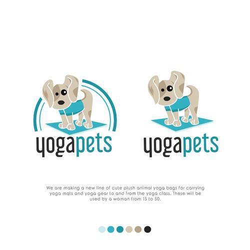 Cute animal plus logo for a yoga bag