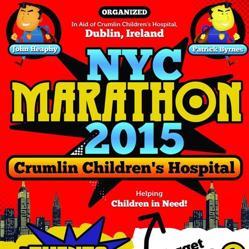 NYC Marathon 2015 Poster - Marvel Comic/Disney Theme
