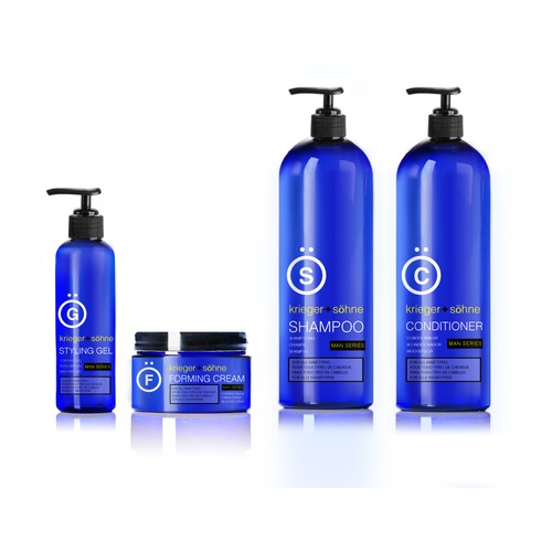 Define the look and feel for a brand spanking new mens' hair care product line (krieger + söhne)