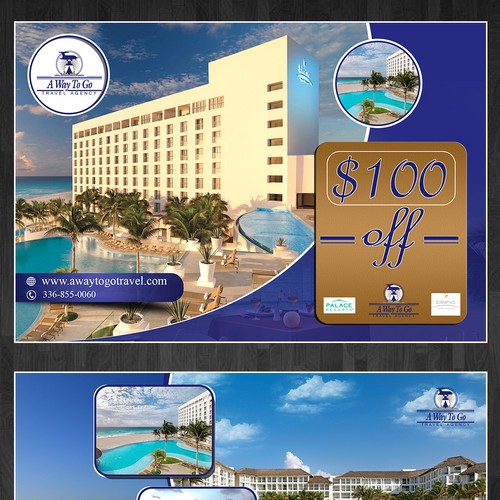 Create an amazing post card with loyalty card for travel agency.