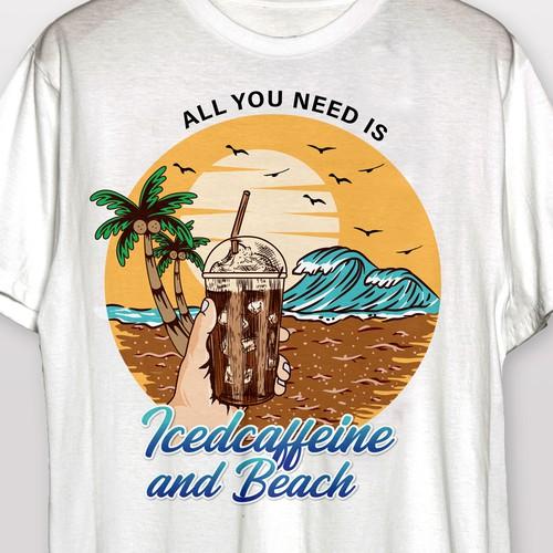 Summer T-Shirt for Coffee Ice cream