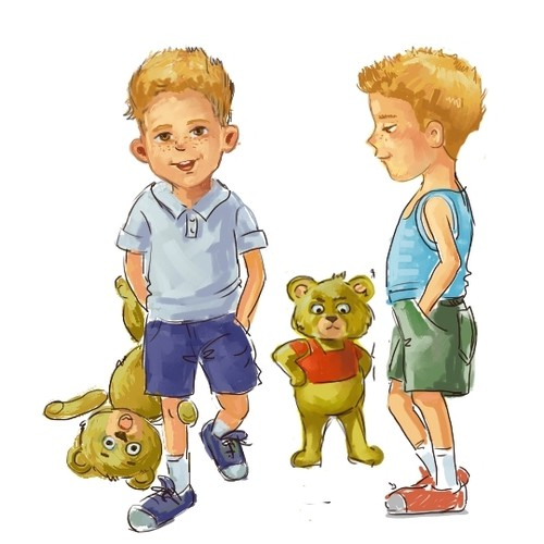 Boy and bear caracters  for hildren's book