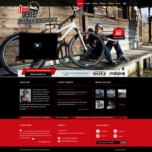 Redesign of homepage of professional MTB Trial Athlete Tom Oehler
