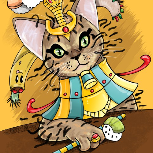 Illustration of a cat in Egyptian style