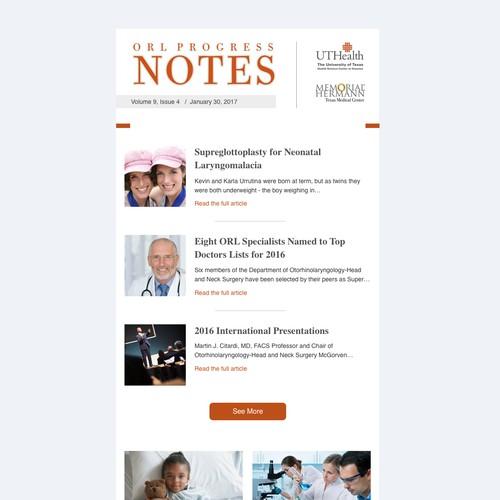 Email Newsletter Design For ORL Progress Notes