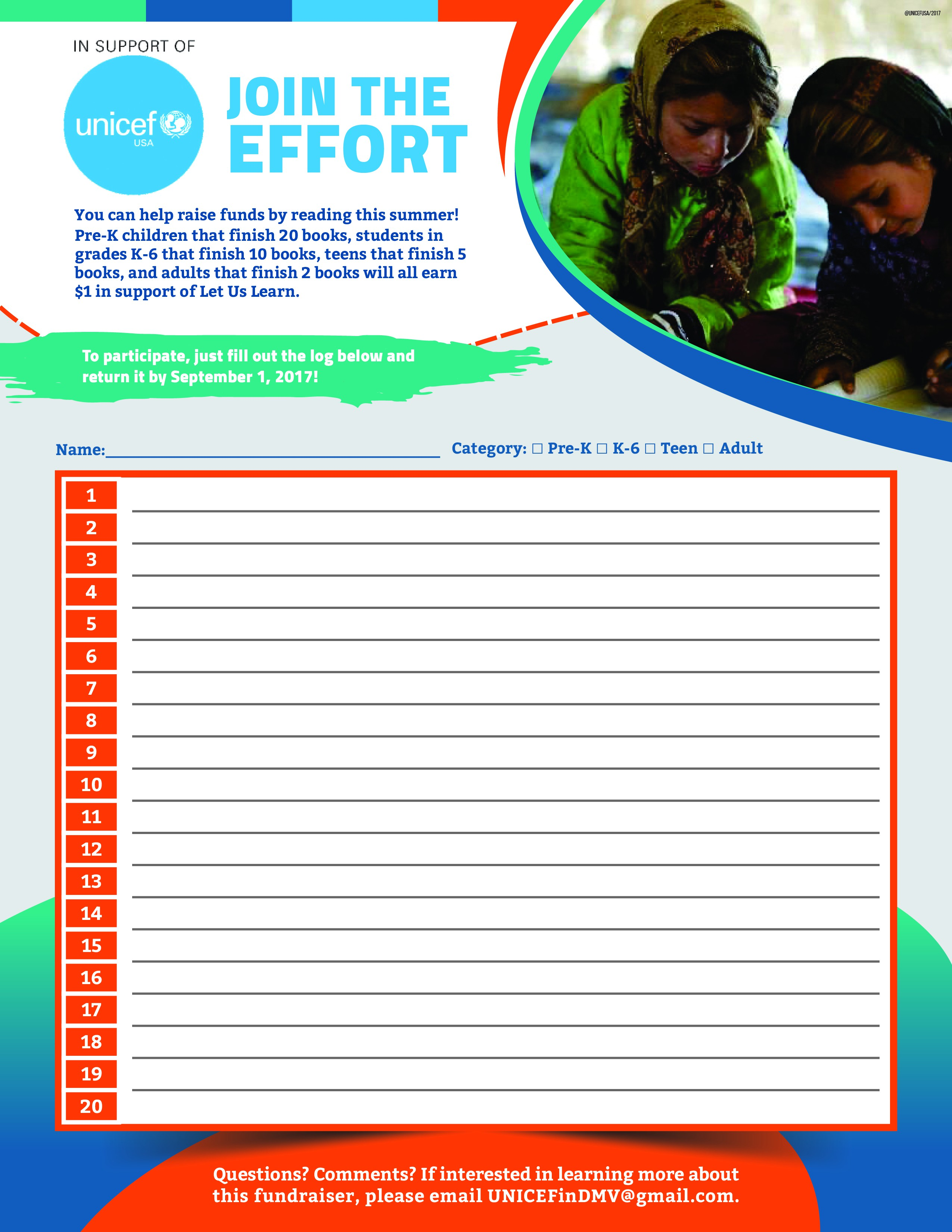 "Help us help kids: Flyer for ""Read for UNICEF!"" fundraiser"