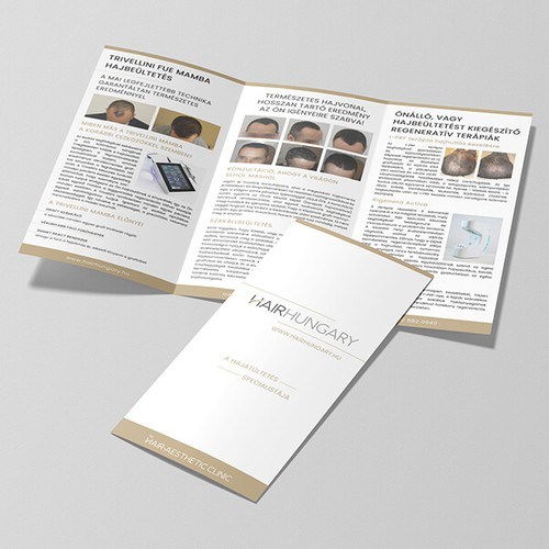 Trifold design for a hair clinic