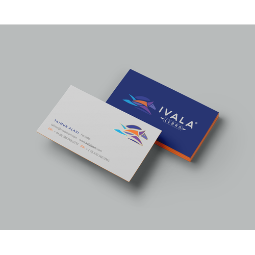 Blue-white velvet business cards for Ivala Learn