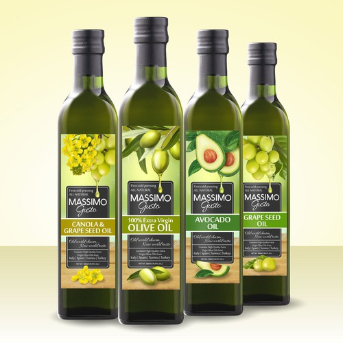 Modern package design concept for Massimo Gusto oil family