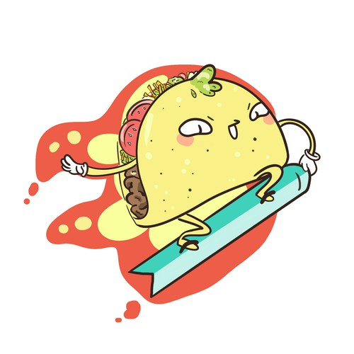 Snowboarding Taco - Tattoo design
