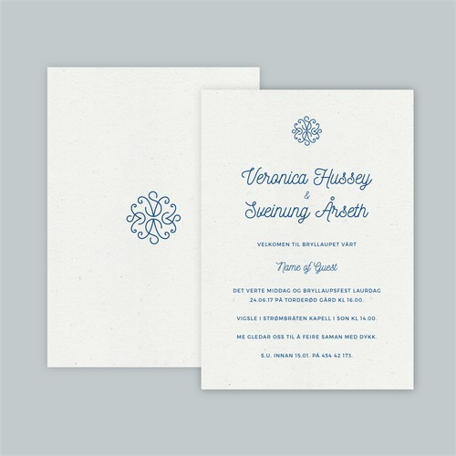 Modern Wedding Invitation with Ornate Monogram